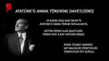 Perpa 10 Kasım'da Atatürk'ü Anıyor