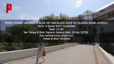 Perpa B Blok Kat Malikleri 2016 Olağan Genel Kurulu