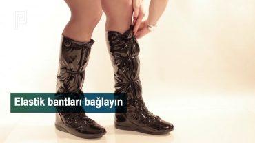 Topuklu Ayakkabının Üzerine Giyilen Yağmur Çizmesi