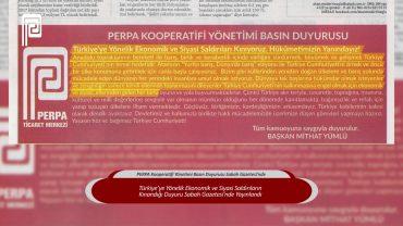 PERPA Kooperatifi Yönetimi Basın Duyurusu Sabah Gazetesi'nde