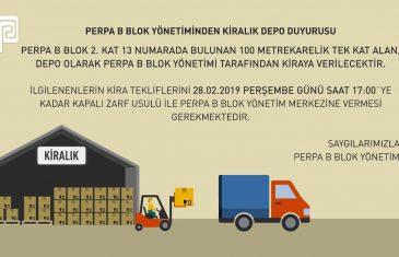PERPA B Blok'tan Kiralık Depo