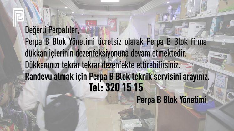 PERPA B Blok Dükkan İçi Dezenfeksiyon Randevuları