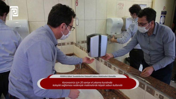 PERPA B Blok Tuvaletlerine Fotoselli Sabun Makineleri Konuldu